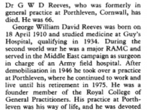 Obituary Doctor George William David Reeves 1976 (1910-1976)