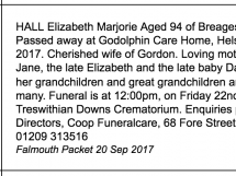 Obituary Marjorie HALL 2017