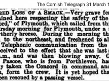 Newspaper Report of concern for Ship Concord - Captain Edwin Pascoe