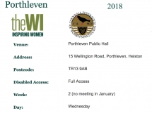 WI Porthleven 2018 meeting times