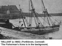 Ship William c1865 in harbour in front of Fisherman's Arms